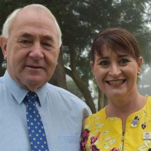 Toowoomba Regional Council Mayor Cr Paul Antonio & CEO of Sunrise Way Wendy Agar.