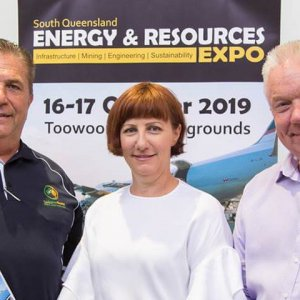 Mayor-Paul-Antonio-with-Bob-Carrol-and-Ali-Davenport-ready-for-South-Queensland-Energy-Resources-Expo